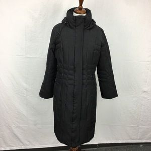 Calvin Klein Black Long Hooded Puffer Coat
